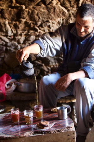 drinking tea - a very important ritual in Morocco