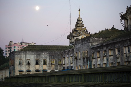 Yangon railway-station in the early morning