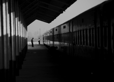 early morning at the train-station