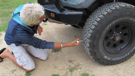 ... before we reach, we have to repair our first flat tire ...